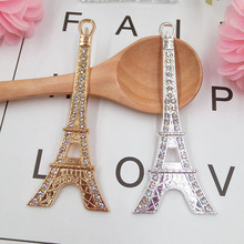 DOWER ME brand 5pcs 3D Alloy Stickers for Phone Crystal Eiffel Tower DIY Decoration 3D Mobile Phone Decorations(China)