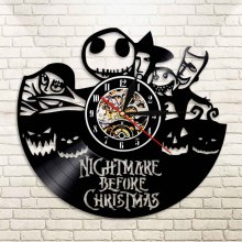 1Piece Nightmare Before Chirstmas Decorative Creative Clock Art Handmade Gift Vinyl Clock Vintage Record LED Light Wall Clock(China)