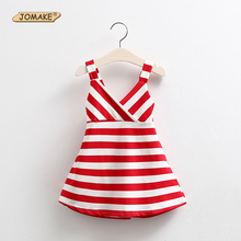 2017 Girl Striped Summer Dress Fashion Baby Girl Backless Dresses Girls Sleeveless Beach Dress Kids Vest Sundress vestido infant
