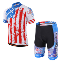 Bicycle Jersey Set America Flag Print Pro Team Men Cycling Clothing Kits Blue White Color Breathable Quick Dry Bib Shorts XS-5XL(China)