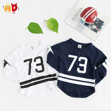 AD 6pcs/lot Baseball Kids T-shirts Spring Autumn Long sleeve Baby Boys Girls t shirts Children's Clothing Clothes 100% Cotton