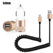 Aluminum Metal 2-Port USB Car Charger + Spring USB Type-C Cable for MEIZU PRO 5 6 7 Plus Google Pixel 2 XL HTC 10 EVO M10u U11(China)