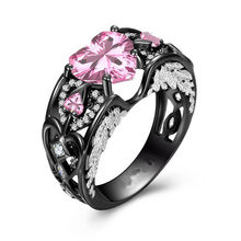 choucong Vintage Jewelry 925 Sterling Silver Black Gold Filled Heart Shape Pink 5A CZ Women Wedding Band Angel Wing Ring Gift(China)