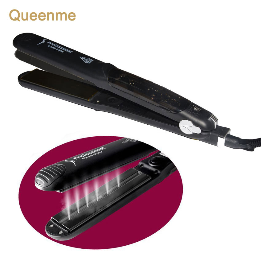 Queenme Steam Flat Iron Tourmaline Ceramic Vapor Professional Argan Oil Steam Hair Straightener Infusion Straightening Irons<br>