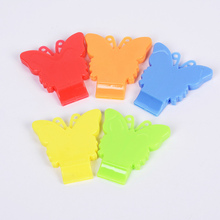 4pcs/lot Plastic Cute Butterfly Whistle Party Games Plastic Fluffy Whistles With Strap Hockey Baseball Sports Referee Whistle(China)