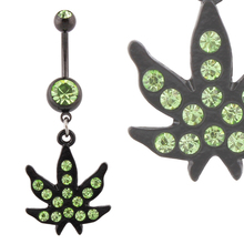 Body piercing Black dangle Jamaican Rasta Pot Leaf green gem Belly ring body jewelry navel 14G stainless steel bar wholesale LOT