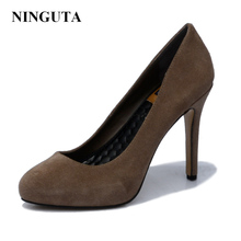 NINGUTA high heels Suede Genuine Leather women pumps dress shoes summer shoes woman