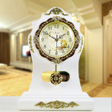 16 inches clock European creative home decoration wood garden wood retro clock mute table clock electronic clock Decoration