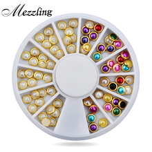Hot 3d Nail Art Pearl Rhinestones Wheel,5mm Nail Stylish Tool Metal Studs Gems Charm Craft,DIY Manicure Nail Jewelry Decorations