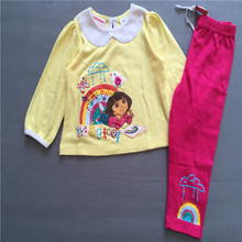 Free shipping Fashion girl's clothing princess Dora yellow long sleeves top rainbow leggings pants pajamas pyjamas suits