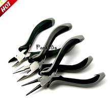 Carbon Steel Jewelry Tool Plier Sets Needlework, Ferronickel, Round Nose, Side Cutting Pliers and Wire Cutters, Black(China)