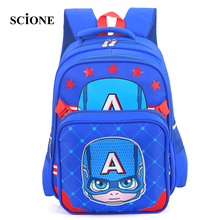 New Design Captain America Cartoon Kids Book Bag Waterproof Schoolbag Children Primary Students Backpacks Mochila Escolar ZZ533