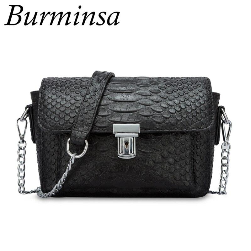 Burminsa Brand Snakeskin Chain Crossbody Bags Genuine Leather Crocodile Designer Hand Bags High Quality Shoulder Bags For Women<br>