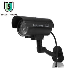 Small Dummy Camera CCTV Sticker Surveillance Camera CCTV Camera 90 Degree Rotating with Flashing Red LED Light Outdoor Indoor