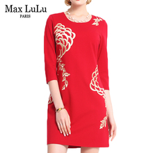 Max LuLu Brand Clothing 2017 China Style Fashion Floral Print Red Dress Woman Sexy Slim Fit Autumn Bodycon Womens Dresses Free