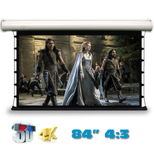 Jingke 4K 3D Top-ranking Electric Tab-Tension Projection Screen 84 inch 4:3 Motorized Projector Screens for LED LCD HD Cinema(China)