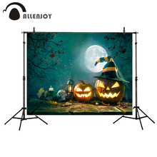 Allenjoy photography background Pumpkin Light Skull Moon Wooden floor Halloween Theme backdrop photo studio camera fotografica
