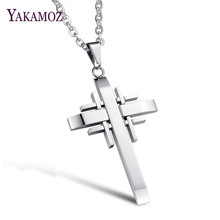 YAKAMOZ 2017 New Trendy Casual Stainless Steel Pendant Necklace Fashion Cross Titanium Necklace for Men Jewelry Gift 3 Color