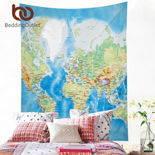 BeddingOutlet Tapestry Blue Printed Wall Hanging Twin Size Carpet Home Decor Wall Tapestry World Map Polyester Sheet Hot 200cm(China)