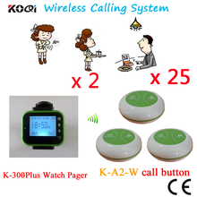 Table Calling System High Quality Best Price For Sample Watch Receiver And Waterproof Button (2 watch+25 button)(China)