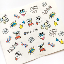 Newest Fashion DLS-305 cartoon girl water seal water transfer nail art sticker supplier accessories water decal