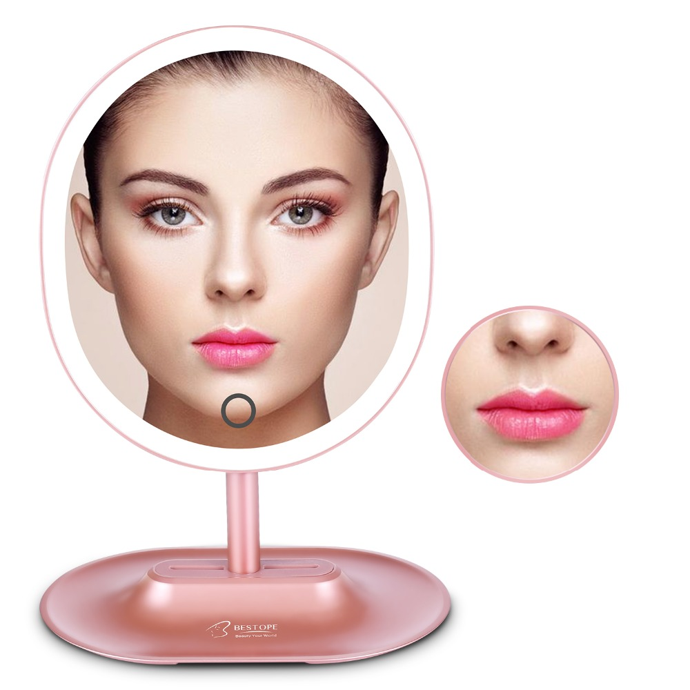 LED Lighted Makeup Mirror 1X with 10X Detachable Magnifying Oval Shape Mirror Vanity Standing Cosmetic Mirror Rose Gold,White<br>