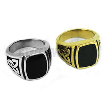 Silver Gold Claddagh Style Celtic Knot Ring Stainless Steel Jewelry Egyptian Pattern Motor Biker Men Ring Wholesale SWR0354(China)