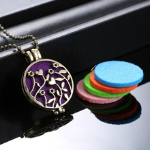 (Necklace+5Pad)/set Perfumes And Fragrances For Women Flower Locket Necklace Perfume Fragrance Essential Oil Aromatherapy(China)