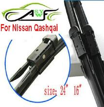 "Free shipping car wiper blade for Nissan Qashqai Size 24"" 16"" Dovetail connector Soft Rubber WindShield Wiper Blade 2pcs/PAIR"