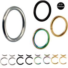 1Pc G23 Titanium PVD Universal Piercing 1.2*8mm Segment Hinged Rings Labret Lip Nose Earrings Piercing Body Jewelry 16G