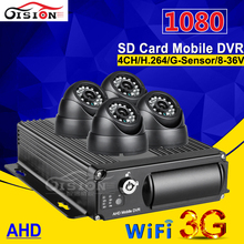 4pcs cctv car camera 4ch ahd dual sd card mobile dvr with 3g gps wifi function real time Cycle Recording i/o alarm 1080 mdvr kit(China)
