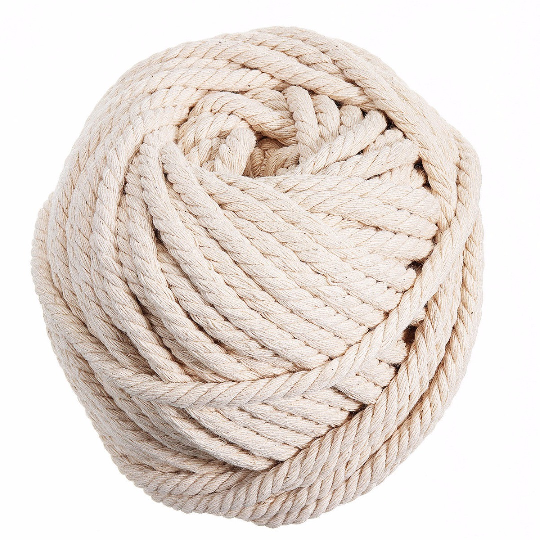 New Natural Cotton Cord 6mm x 30m Macrame Rope Beige Twisted Cord Artisan Hand Craft for Handmade DIY Making Jewelry
