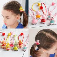 Cute pig elastic hair bands cartoon animal style hair accessories children lovely hair rope high quality one pair girls bands