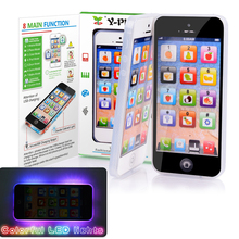 Y-phone English Learning Mobile Phone with LED Child Kid Toy Cellphone Baby Mobile Early Educational Puzzle Toy Electronic Phone(China)