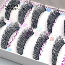 5 Pairs Hot comb Black Lashes Perfect Long Thick Hair Extension 12mm False Eye Lashes Curling Cilios Cils Winged Curved Lashes(China)