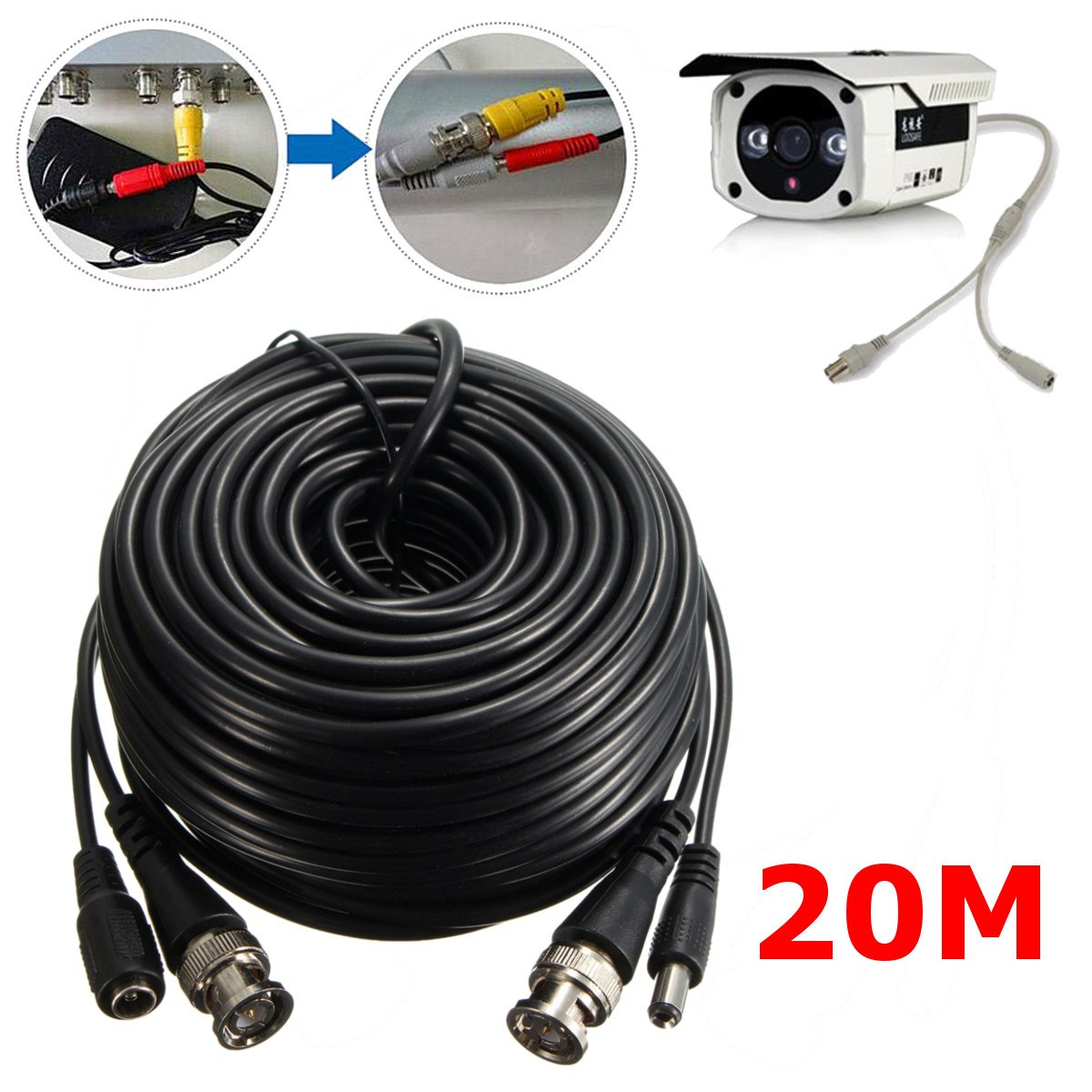 20M 65FT Video Power Cable CCTV Security Camera Extension Wire DVR BNC RCA Cord BNC Car Camera Accessories<br><br>Aliexpress
