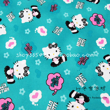 140X100cm Hello Kitty Pink Hearts Small Flowers Lake Green Cotton Fabric for Baby Girl Clothes Bedding Set Curtain DIY-AFCK766
