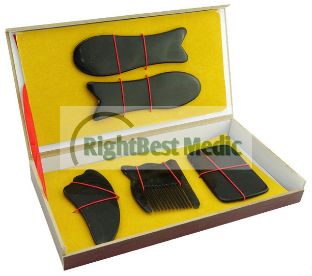 5 PCS Black Buffalo Horn Gua Sha Board Scrape Therapy Chinese Traditional Medicine Massager Gift Box Massage Tool Free Shipping<br>