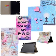 Case For Amazon Kindle Fire HDX 7 Case Cover Luxury Painted Book-Design Flip PU Leather Tablet Case Magnet Cartoon Card Holders(China)
