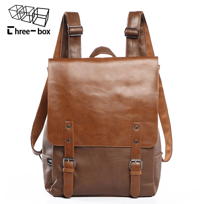 Three-box Brand Leather Men Bag Casual Men School Backpack Fashion Laptop Daypacks College Vintage Travel Backpacks Male Mochila<br>