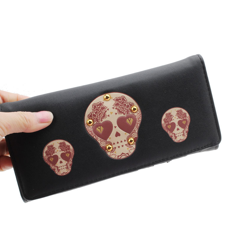 New Fashion Luxury Retro Women Creative Rivet Skull Pattern Wallet Purse Long Leather Wallet Coin Clutch Pockets High quality<br><br>Aliexpress