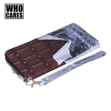 Chocolate 3D Printing Wallet Who Cares Women Wallets Fashion New Men Wallets Unisex Funny Purse portefeuille femme Free shipping