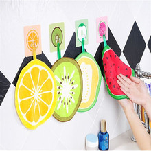 Lovely Fruit Print Hanging Kitchen Round Hand Towel Microfiber Towels Quick-Dry Cleaning Rag Dish Cloth Wiping Napkin Toallas
