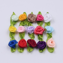 50pcs artificial filament thick rose wedding dress accessories color rose bow hair accessories head hair clip DIY wreath clip(China)