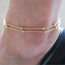 New Fashion Women Gold Double Foot Chain Anklet Ankle Bracelet Sexy Barefoot Sandal Beach Foot Perfect Gift Hot Sales