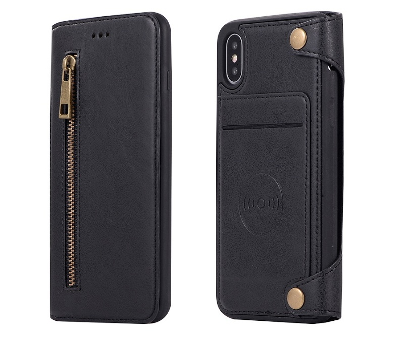 Black genuine leather flip phone case for iPhone x 10 luxury card cover