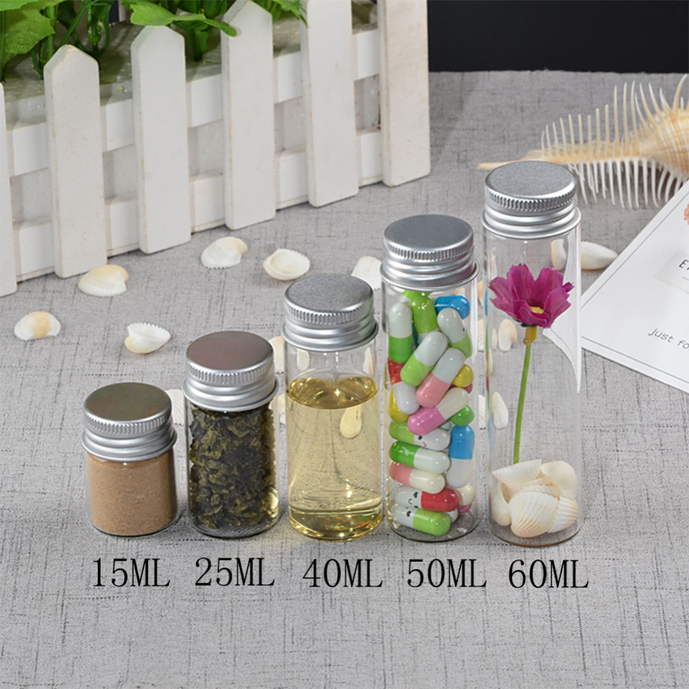 15ml 25ml 40ml 50ml 60ml Glass Bottles Decoration Crafts Bottles Aluminium Lid Empty Wishing Bottles Jar2