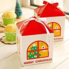Small house Merry Christmas Favors Boxes for your Christmas gift 30pcs/lot(China)