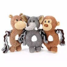 Hoopet 3 Types Pet Dog Voice Small Toy Dogs Cats Toy Monkey/Elephant/Hippo Ring Pet Toys Pet Interactive Educational Toys(China)