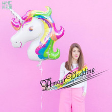 1pc/bag 87x117cm Rainbow Unicorn Foil Balloons America Imported Cartoon Animal Balloon Helium Float Ball Kid's Toy Gift